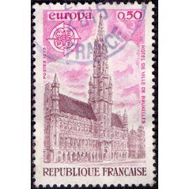 timbre de 1973 hotel de ville de bruxelles. europa.république française.0.50.c.e.p.t.