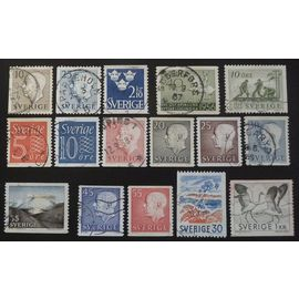 Suède oblitéré y et t n° 381a et plus lot de 16 timbres de 1954-57