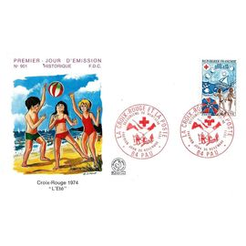 """France 1974, Très Belle Enveloppe 1er Jour Neuve** Fdc 901, Timbre 1828 Croix Rouge """"L"""