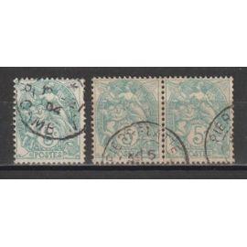 France, 1900-1924, 1925, Variété, Type Blanc, N°111c (Vert-Bleu), Oblitéré.