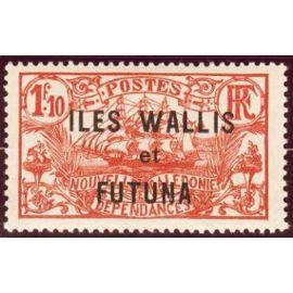 france 1927, bel exemplaire yvert 42, timbre de nouvelle calédonie type grand voilier, 1f10 rouge orange, surchargé, neuf*
