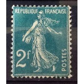 Semeuse 2f Vert-Bleu (Très Joli n° 239) Neuf* - Cote 16,00€ - France Année 1927 - N25825