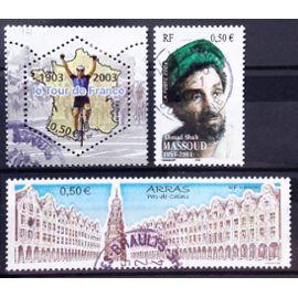 Centenaire Tour de France - Arrivée 2003 0,50€ (N° 3583) + Commandant Massoud (N° 3594) + Arras 0,50€ (N° 3605) Obl - France Année 2003 - N20176