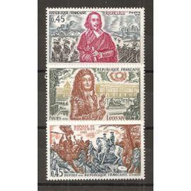 1655 à 1657 (1970) Richelieu / Louis XIV / Bataille de Fontenoy N** (cote 2,4e) (4607)
