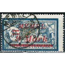 """lituanie, enclave de memel sous protectorat français 1922, bel exemplaire yvert 64, type merson 5f. bleu et chamois surchargé """"memel 9 mark"""", oblitéré, TBE"""