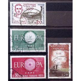 Appel 18 juin 1940 - 20ème Anniversaire 0,20 (N° 1264) + J.O. de Rome 0,20 (N° 1265) + Europa Rond 0,25 vert (N° 1266) + Europa Rond 0,50 carmin (N° 1267) Obl - France Année 1960 - N18127