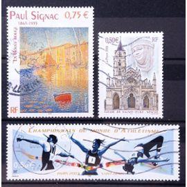Paul Signac - La Bouée Rouge 0,75€ (N° 3584) + Eglise de Saint-Père - Yonne 0,50€ (N° 3586) + Championnats du Monde d