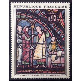 Vitrail Cathédrale de Chartres - 0,95 (Impeccable n° 1399) Neuf** Luxe (= Sans Trace de Charnière) - France Année 1963 - N25896