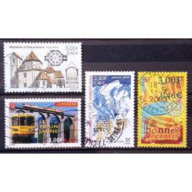 Conquête Annapurna 3,00 (N° 3331) + Bonnes Vacances 3,00 (N° 3330) + Train Jaune de Cerdagne 3,00 (N° 3338) + Abbatiale d