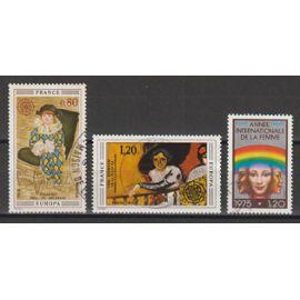 france, 1975, europa (tableaux, picasso, van dongen), année internationale de la femme, n°1840 + 1841 + 1857, oblitérés.