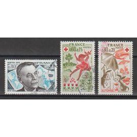 france, 1975, personnages célèbres (andré siegfried), au profit de la croix-rouge (les saisons), n°1858 + 1860 + 1861, oblitérés.