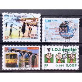 Siècle au Fil du Timbre - Congés Payés (N° 3352) + 2001 Nouveau Millénaire 3,00 (N° 3357) + Train Jaune de Cerdagne (N° 3338) + SOS Amitié 3,00 (N° 3356) Obl - France Année 2000 - N18113