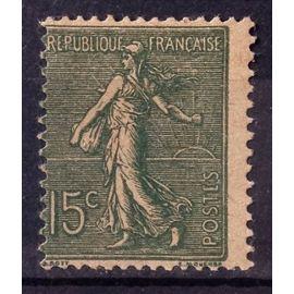 Semeuse Lignée 15c Vert-Gris - Papier GC - Type IV (Superbe n° 130j) Neuf* - Cote 5,00€ - France Année 1903 - N18608