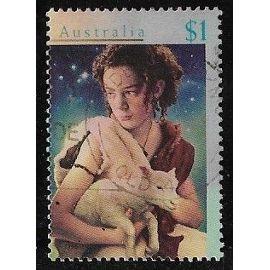 Timbre d'Australie N°1544 Y & T 1 $ multicolore Noël berger avec mouton