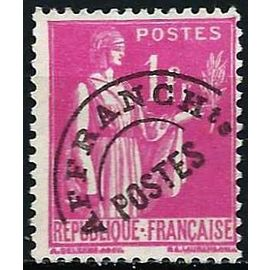 france 1937, bel exemplaire type paix 1f. rose préoblitéré yvert 76, usagé = sans gomme, TBE -
