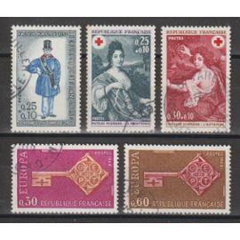 france, 1968, journée du timbre, europa, au profit de la croix-rouge, n°1549 + 1556 + 1557 + 1580 + 1581, oblitérés.