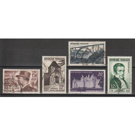 france, 1952, maréchal de lattre de tassigny, porte à vaucouleurs, château de chambord, viaduc de garabit, dr rené laennec, n°920 + 921 + 924 + 928 + 936, oblitérés.