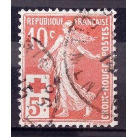 Croix Rouge Semeuse 10c+5c rouge (Très Joli n° 147) Obl - Cote 4,00€ - France Année 1914 - N26083