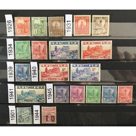 Lot de 18 timbres Tunisie 1926/1945 + 2 taxes 1901 et 1944