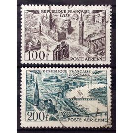 Vues de Grandes Villes - Lille 100f brun-violet (Très Joli n° 24) + Bordeaux 200f vert (Très Joli n° 25) Obl - France Année 1949 - N26840