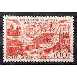 Vues de Grandes Villes - Marseille 500f Rouge (Très Joli Aérienne n° 27) Obl - Cote 7,00€ - France Année 1949 - N26842
