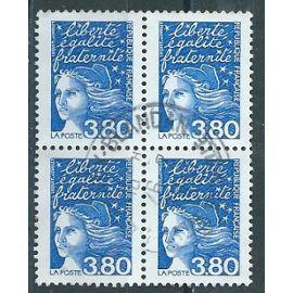 Marianne de Luquet 3f80 bloc de 4 timbres cachet rond 1997 n° 3093