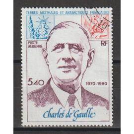 terres australes et antarctiques françaises, 1980, poste aérienne, 10è anniversaire de la mort du général de gaulle, n°61, oblitéré.