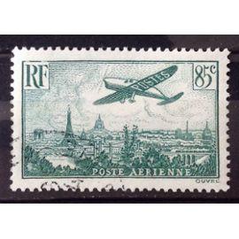 Avion survolant Paris 85c vert foncé (Superbe Aérienne n° 8) Obl - Cote 3,00€ - France Année 1936 - N25726