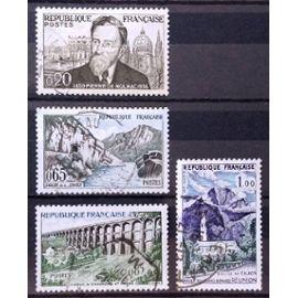 Pierre De Nolhac 0,20 (N° 1242) + Vallée de la Sioule (N° 1239) + Eglise de Cilaos - Massif du Grand Bénard - Réunion (N° 1241) + Viaduc de Chaumont (N° 1240) Obl - France Année 1960 - N18125