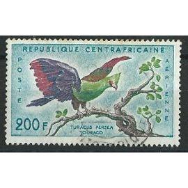 Poste aérienne Centrafrique oiseau Touraco 200F 1960 oblitéré n° 2