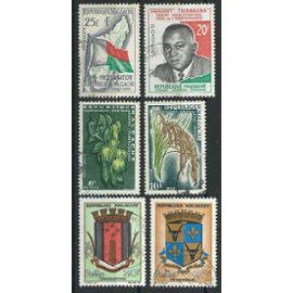 Madagascar, lot de 6 timbres 1959 à 1963 oblitérés n° 339/347/349/355/391/392