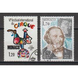 monaco, 1979, 6è festival international du cirque de monte-carlo, centenaire de la mort de sir rowland hill, n°1201 + 1202, oblitérés.