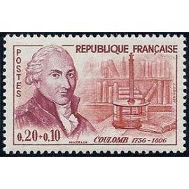 france 1961, très bel exemplaire yv. 1297, le physicien coulomb et sa balance de torsion, neuf** luxe