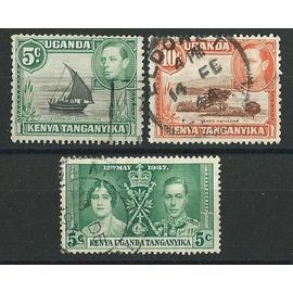 Kenya Uganda Tanganyika Roi Georges 6 lot 3 timbres 1937 n° 47 et 1938 n° 51 et 52