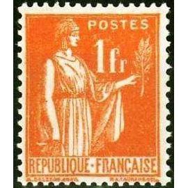 france 1932, bel exemplaire yv. 286, type paix 1f. orange, neuf*
