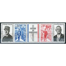 France 1971, Très Belle Bande 4 Timbres + Vignette Général De Gaulle, Yv. 1698a, Regroupant Les Timbres 1695, 1696, 1697, 1698 Avec Vignette Centrale Croix De Lorraine, Oblitéré, TBE