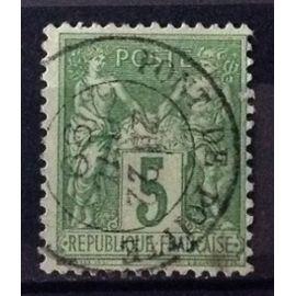 Sage 5c vert-jaune (Type II = N sous U) (Superbe n° 106) Oblitération Pont de Poitte (Jura) - Cote 3,00€ - France Année 1898 - N26053