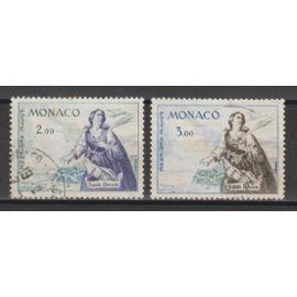 monaco, 1960-1961, poste aérienne, sainte dévote, n°73 + 75, oblitérés.
