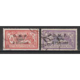 syrie, 1920-1922, type merson (timbres de france avec surcharge sur 3 lignes), n°68 + 70, oblitérés.