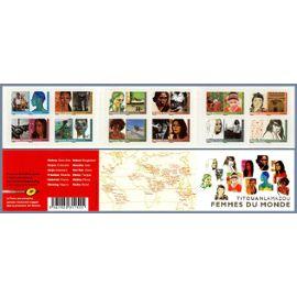 france 2009, très belle bande carnet neuve** luxe yvert 274, femmes du monde par titouan lamazou, 12 timbres auto-adhésifs validité permanente, collection ou affranchissement.