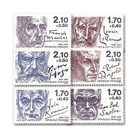romain rolland-jules romains-jean paul sartre-victor hugo-roland dorgelès-françois mauriac série complète année 1985 n° 2355 2356 2357 2358 2359 2360 yvert et tellier luxe