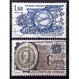 Série Europa 1982 (Traités) - N° 2207-2208 Obl - France Année 1982 - N26111