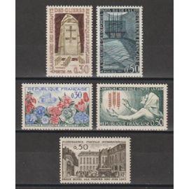france, 1963, floralies nantaises, campagne mondiale contre la faim, hauts lieux de la résistance, conférence postale internationale, N°1369 + 1379 à 1381 + 1387, neufs.