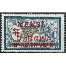 """lituanie, enclave de memel sous adm. française 1922, bel exemplaire yvert 64, type merson 5f. bleu et chamois surchargé """"memel 9 mark"""", neuf*"""