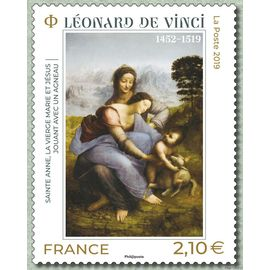 """france 2019, très bel exemplaire neuf** luxe oeuvre de léonard de vinci, """"Sainte Anne, la Vierge Marie et Jésus jouant avec un agneau""""."""