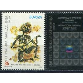 2 timbres neufs europa Macédoine 2003