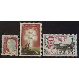 France neuf y et t N°1263 à 1267 lot de 5 timbres de 1960 cote 2.60
