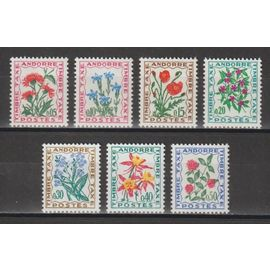 Andorre, 1964-1971, Timbres-Taxe, Flore (Fleurs Des Champs), N°46 À 52, Neufs.