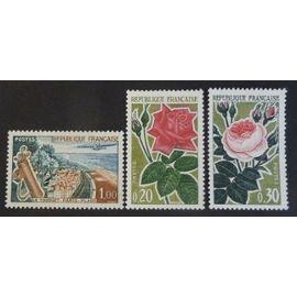 France neuf y et t N° 1355 à 1357 lot de 3 timbres de 1962 cote 2.25