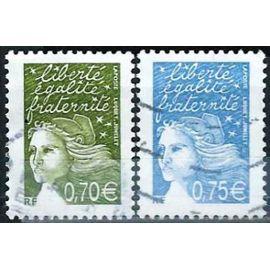 france 2003, beaux exemplaires yvert 3571 et 3572, marianne de luquet (1ere femme choisie pour dessiner un timbre d